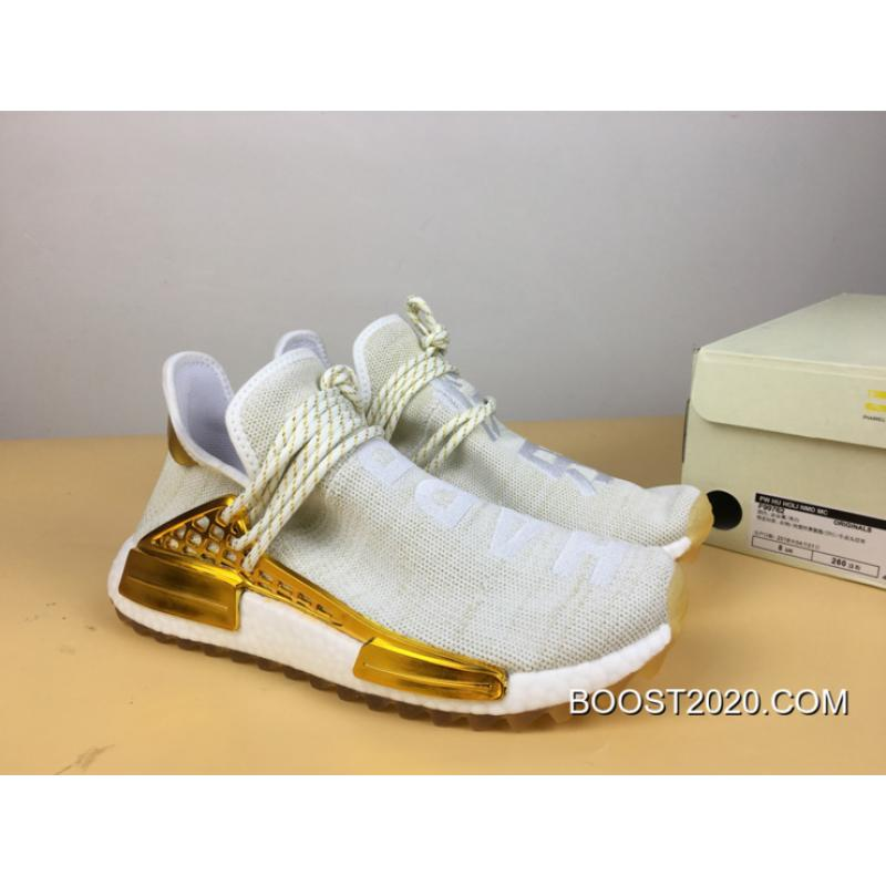 WomenMen Outlet New Style Pharrell X Adidas NMD Hu 'Happy' Gold