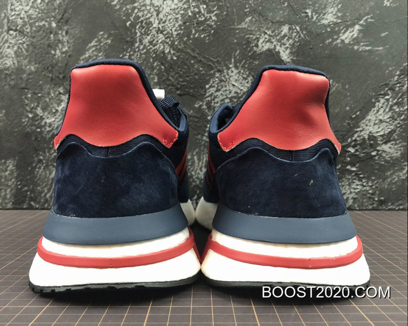 the latest 95123 9ed78 Women/Men Outlet Best Adidas ZX 500 RM Boost OG Navy Blue/Red-White